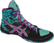 Asics Cael v7.0 Wrestling Shoes - Black/Orchid/Turquoise